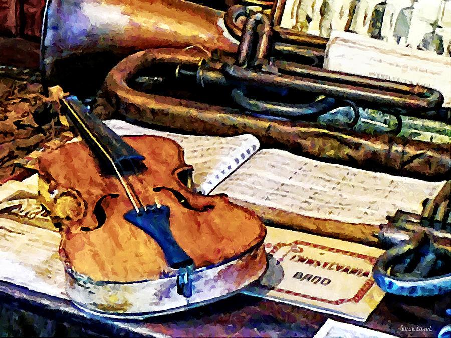 Violin Photograph - Violin And Bugle by Susan Savad