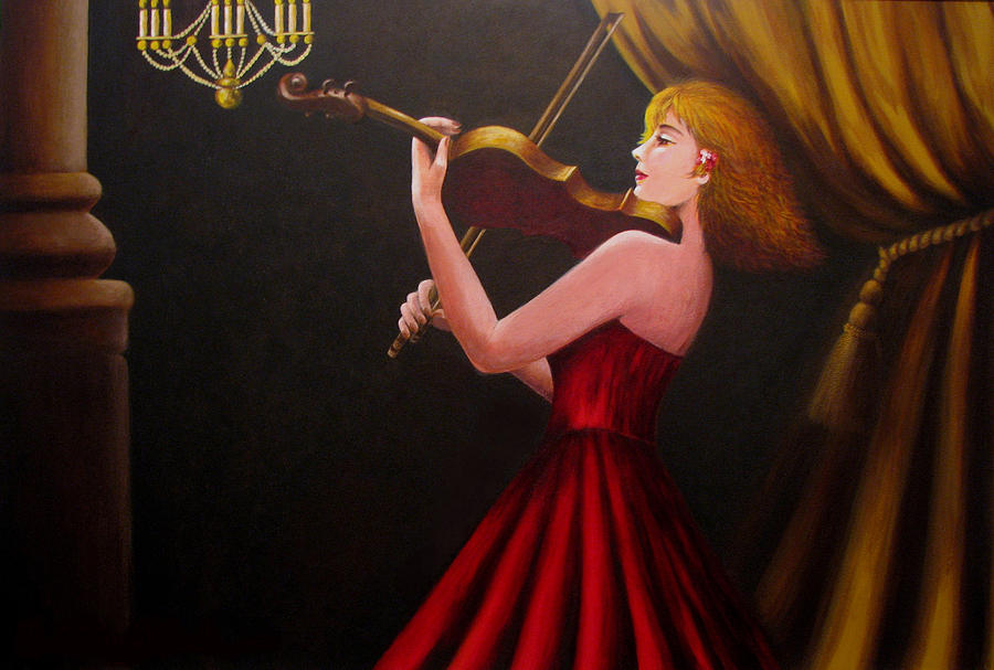 Oil Painting - Violinist  by Anh T Chau