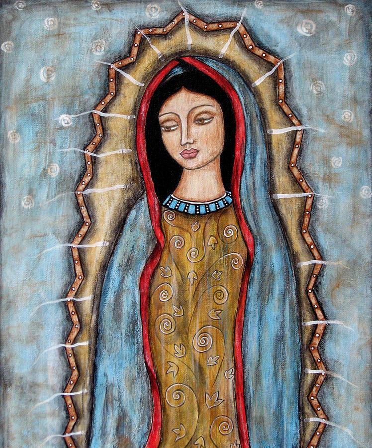 Folk Art Paintings Painting - Virgen De Guadalupe by Rain Ririn