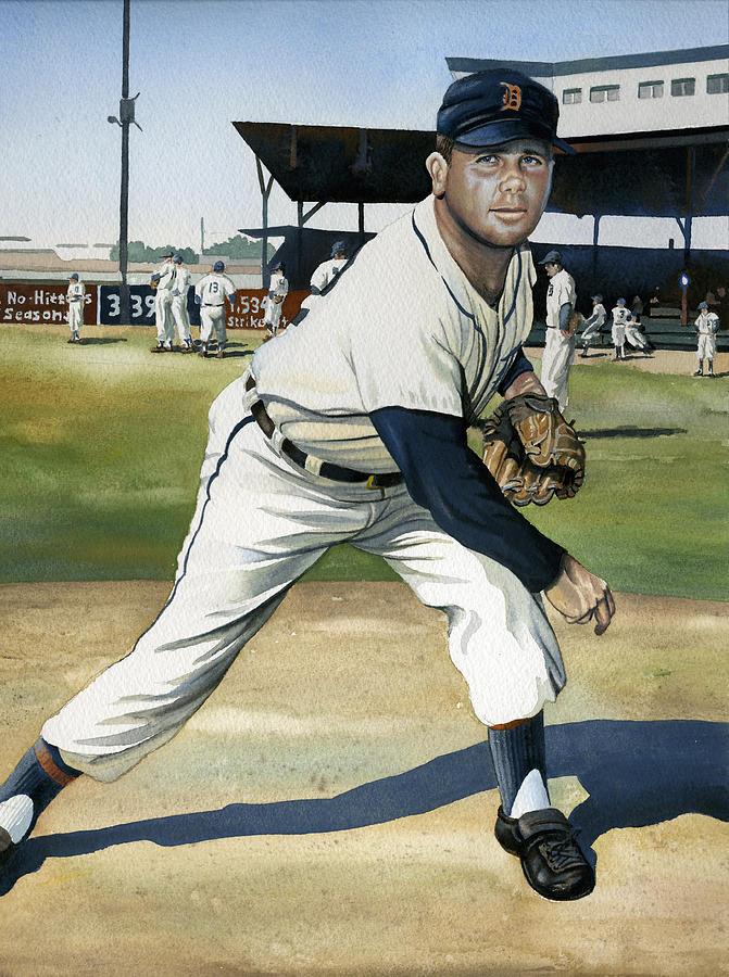 Baseball Painting - Virgil Trucks by Rich Marks