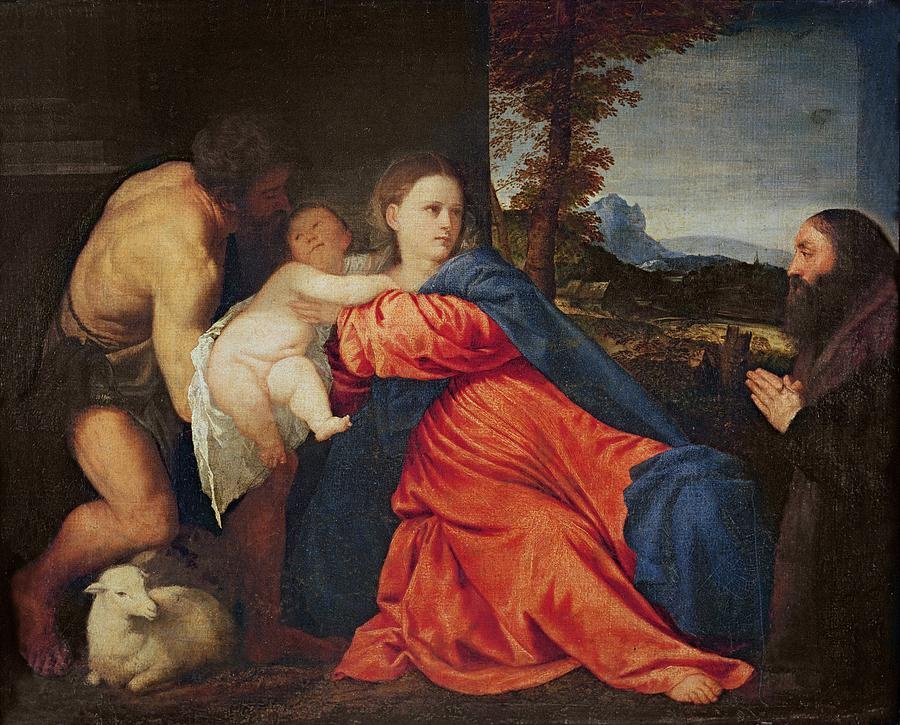 Virgin And Infant With Saint John The Baptist And Donor Painting
