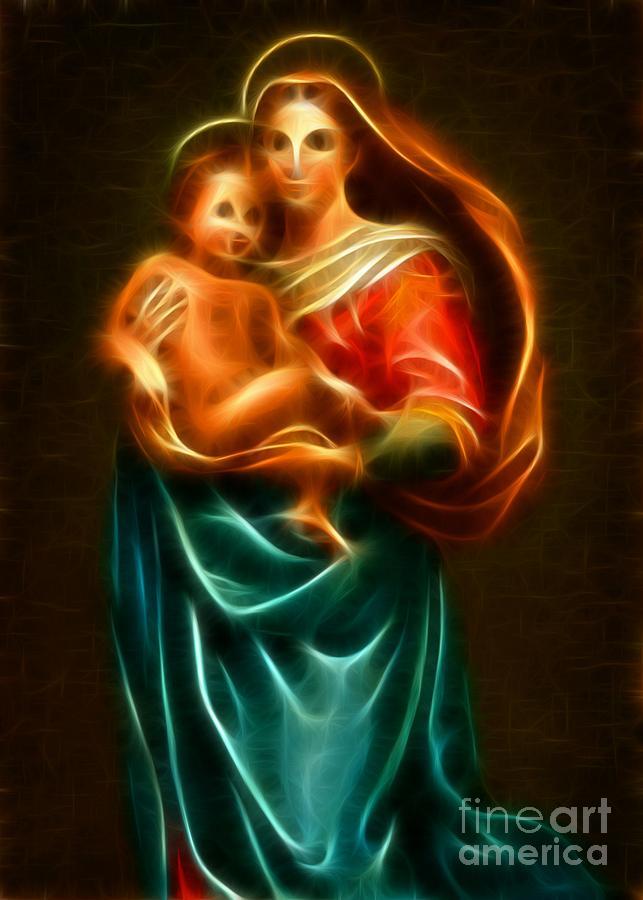 Virgin Mary Mixed Media - Virgin Mary And Baby Jesus by Pamela Johnson