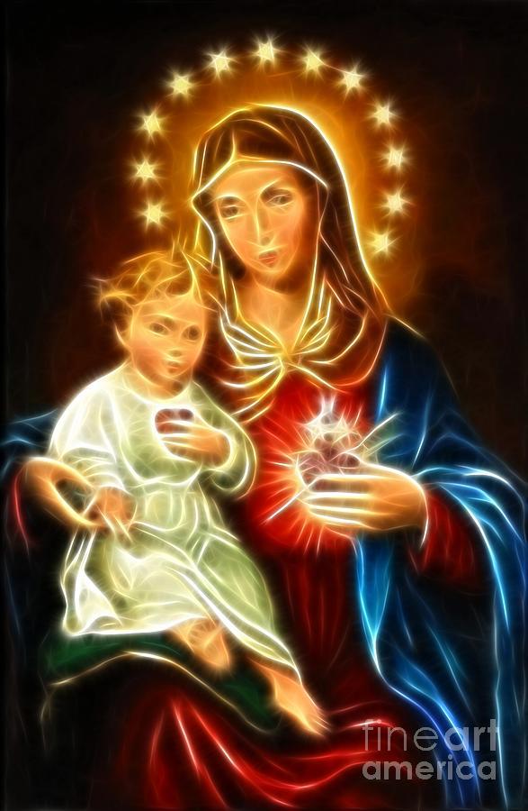 Virgin Mary Mixed Media - Virgin Mary And Baby Jesus Sacred Heart by Pamela Johnson