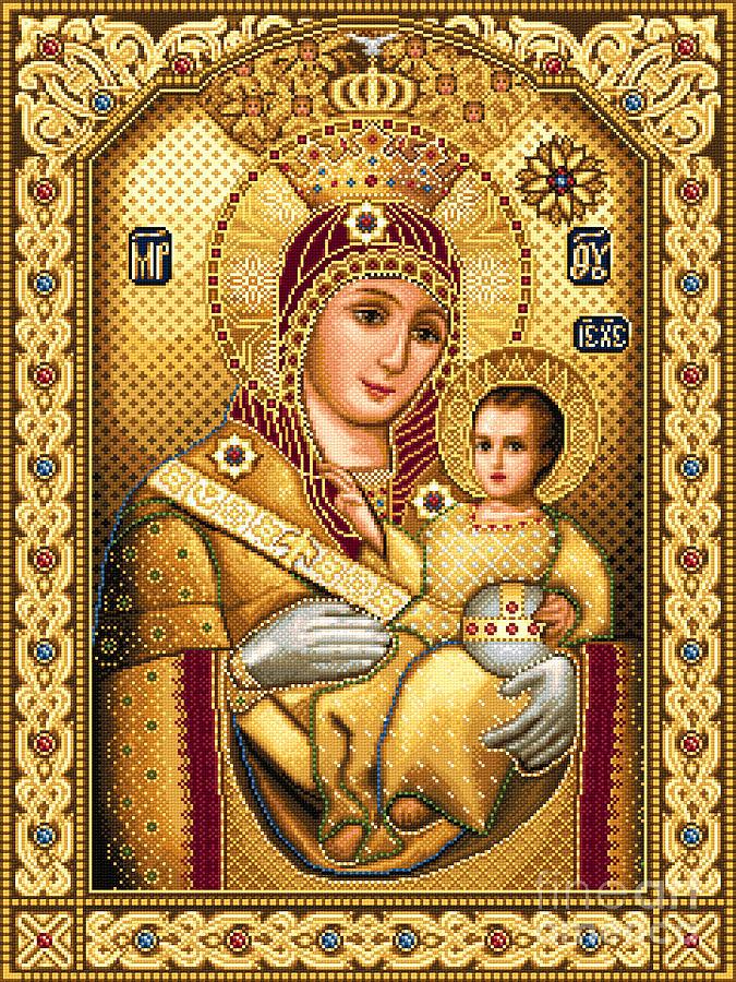 Virgin Mary Of Bethlehem Icon Orthodox Needlework Jesus Child Tapestry - Textile - Virgin Mary Of Bethlehem Icon by Stoyanka Ivanova