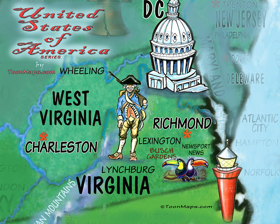 Virginia West Virginia Fun Map Digital Art