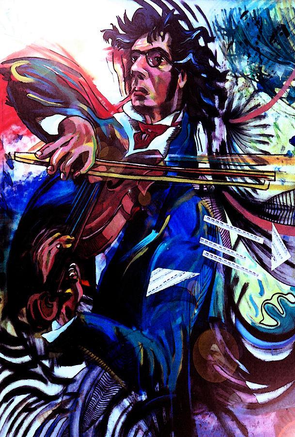 Volinist Painting - Virtuoso Violinist by Jose Roldan Rendon