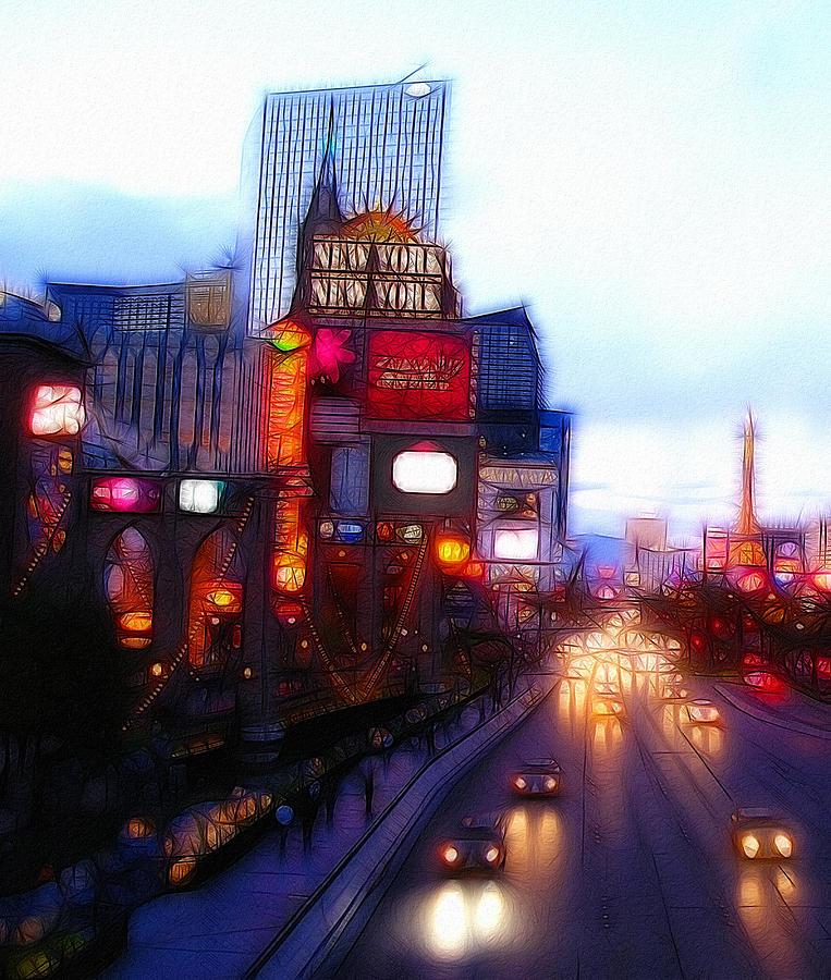 Painting Abstract Expressionism Las Vegas Player Desert City Urban Casino Color Colorful Cityscape  Digital Art - Viva Las Vegas Painting by Steve K
