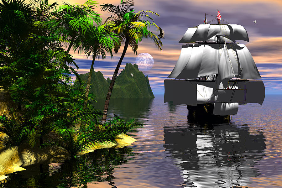 Bryce Digital Art - Voyage Of Captain Cook by Claude McCoy
