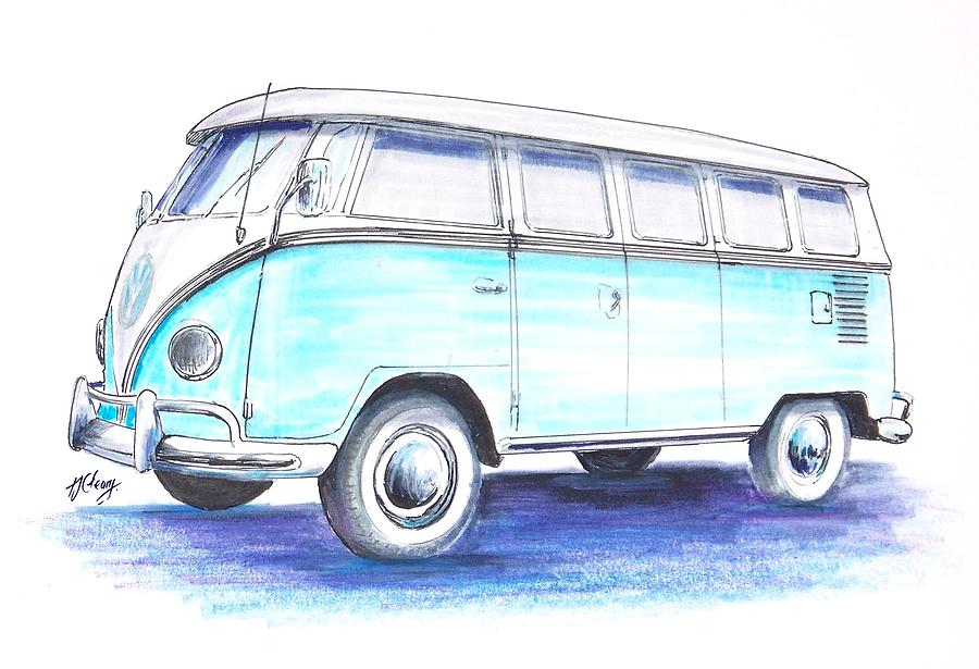 Line Drawing Van : Vw bus drawing by terence john cleary