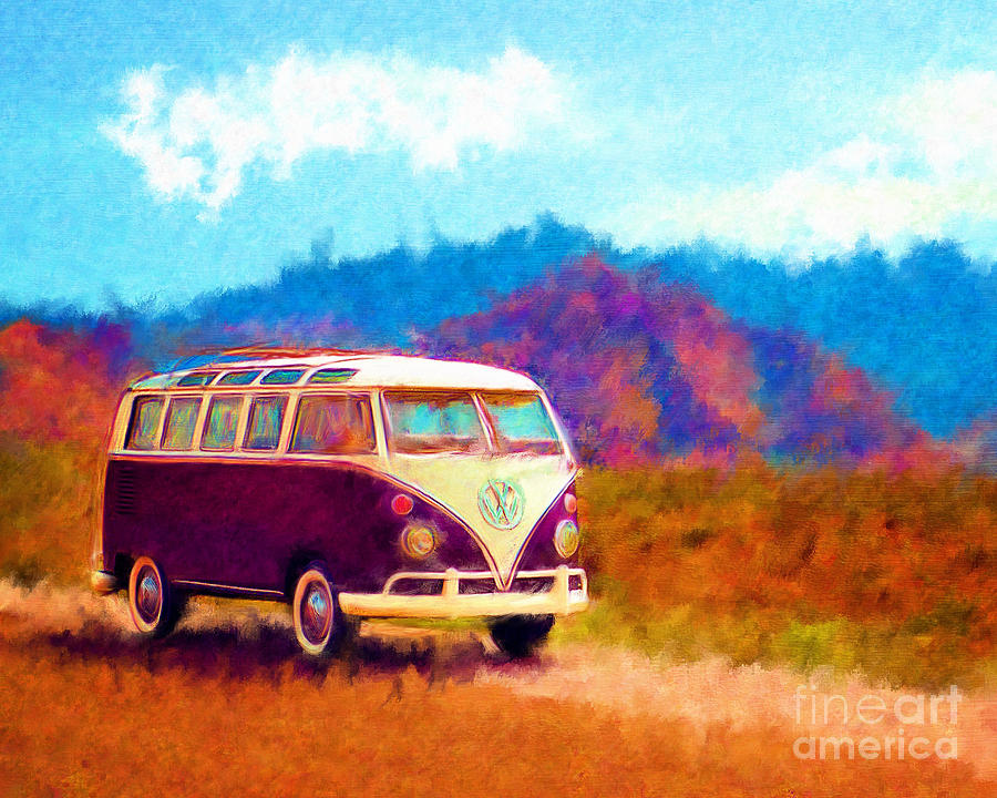 Automobile Digital Art - Vw Van Classic by Marilyn Sholin