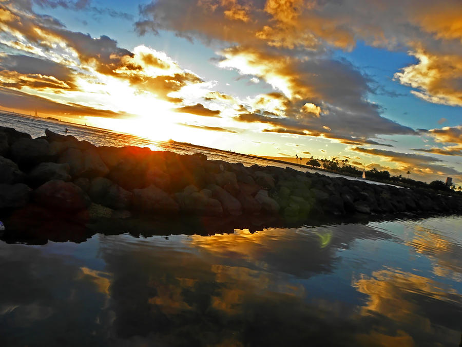 Digital Photograph - Waikiki Sunset by Elizabeth Hoskinson