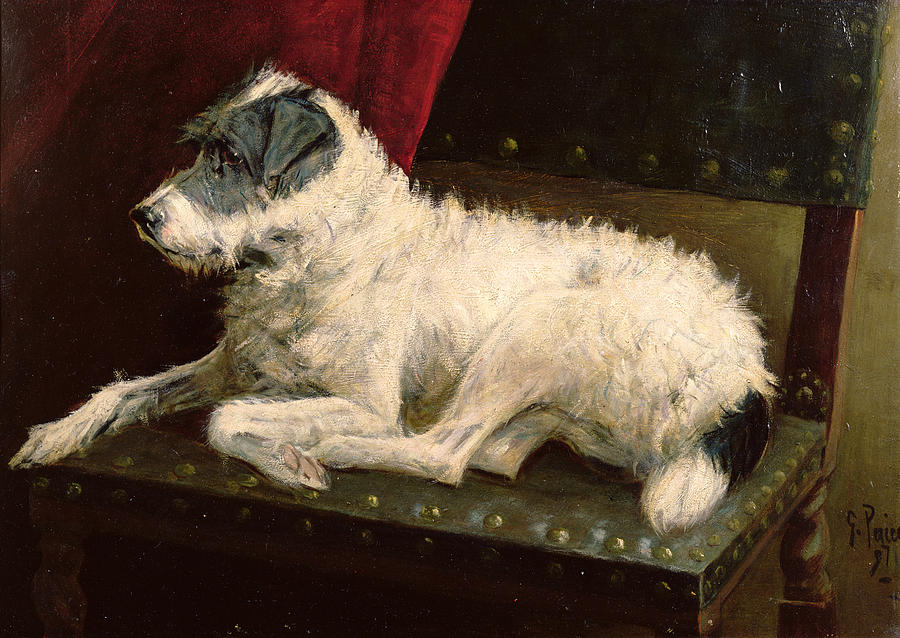 Dog Painting - Waiting For Master by George Paice