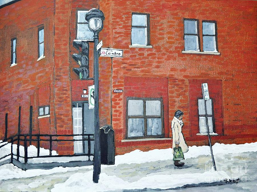 Pointe St. Charles Painting - Waiting For The 107 Bus by Reb Frost