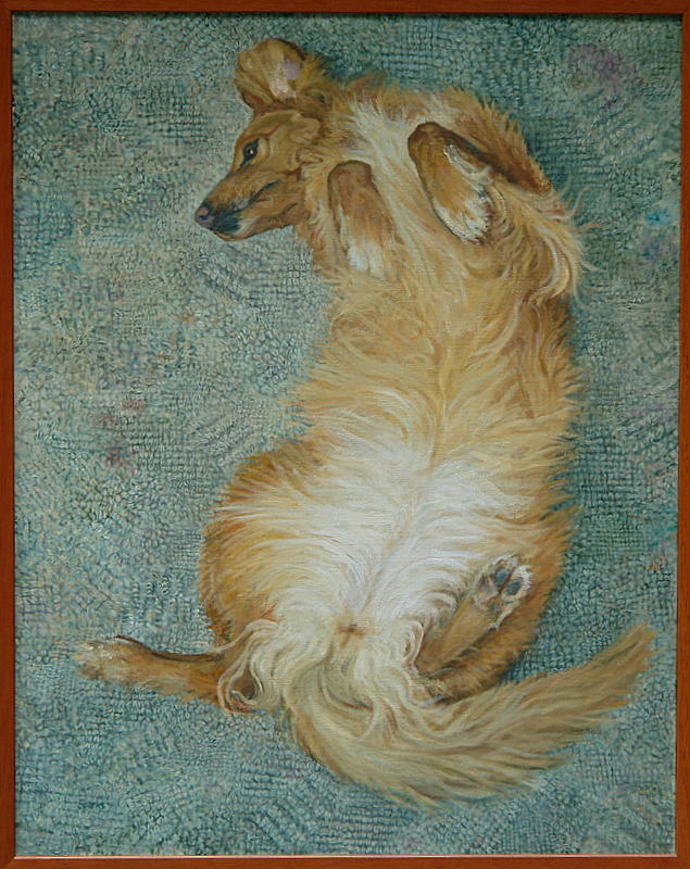 Dog Study Painting - Waiting For The Rubdown by James Sparks