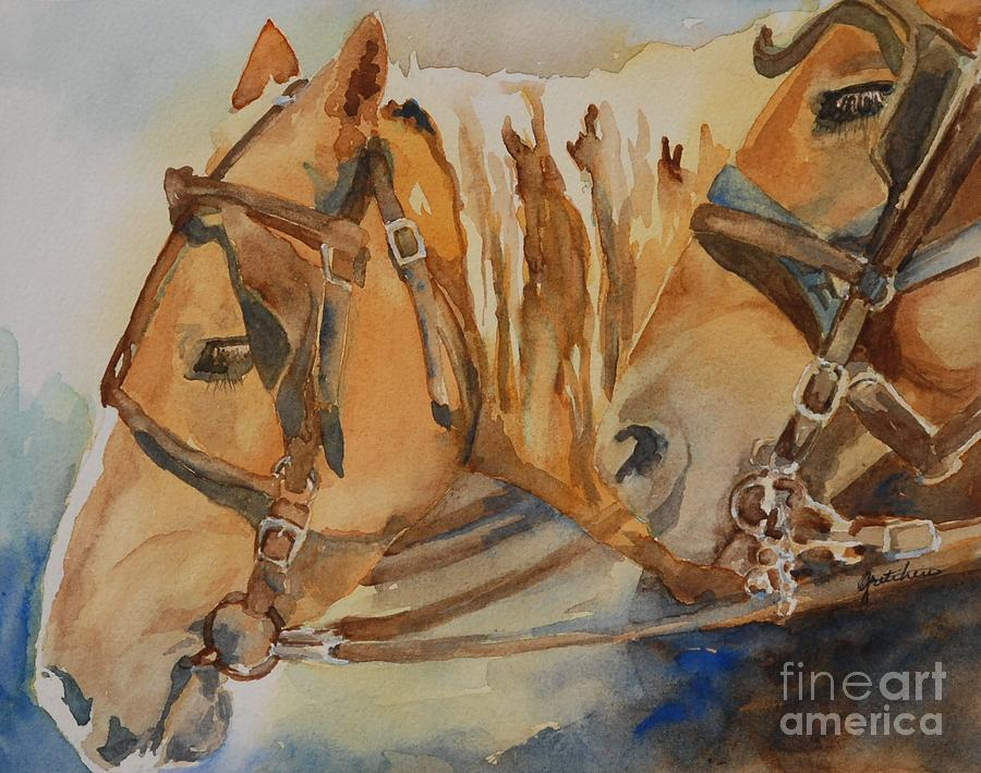 Horses Painting - Waiting Patiently by Gretchen Bjornson