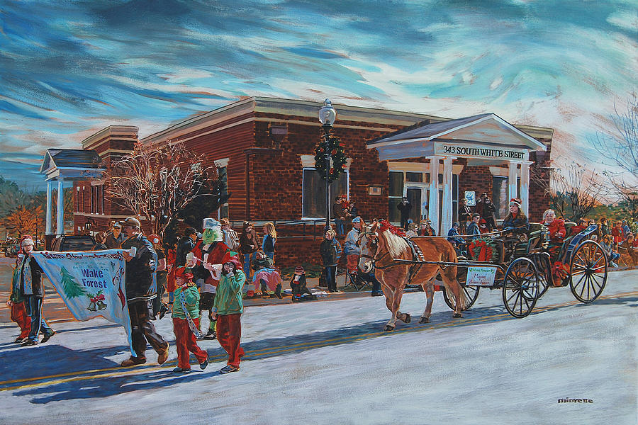 Wake Forest Painting - Wake Forest Christmas Parade by Tommy Midyette