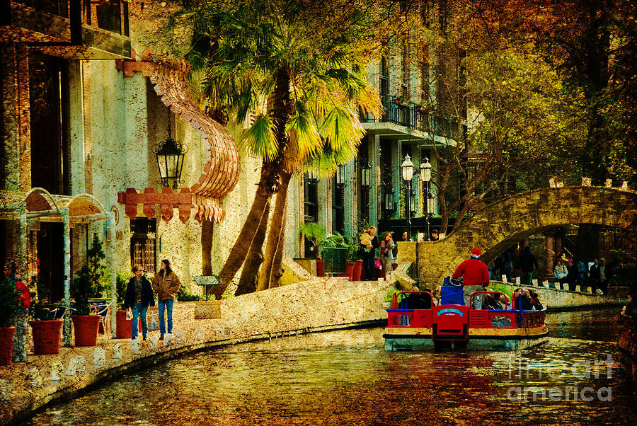 People Photograph - Walking Along The Riverwalk by Iris Greenwell