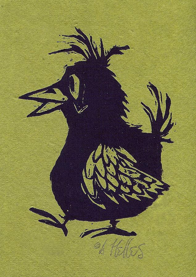 Bird Painting - Walking Bird With Green Background by Barry Nelles Art
