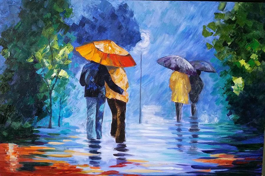 walking in the rain painting by rosie sherman