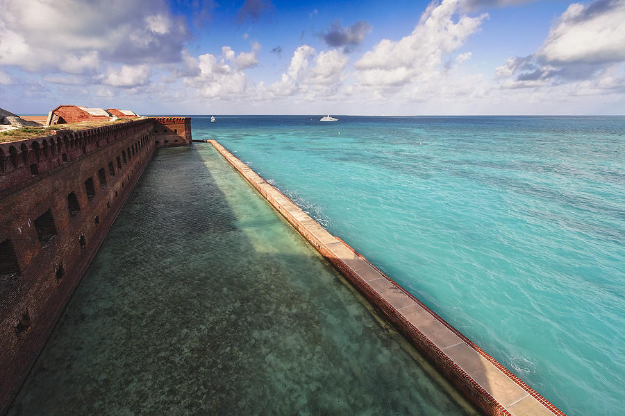 Architecture Photograph - Walls And Moat Of  Fort Jefferson by George Oze