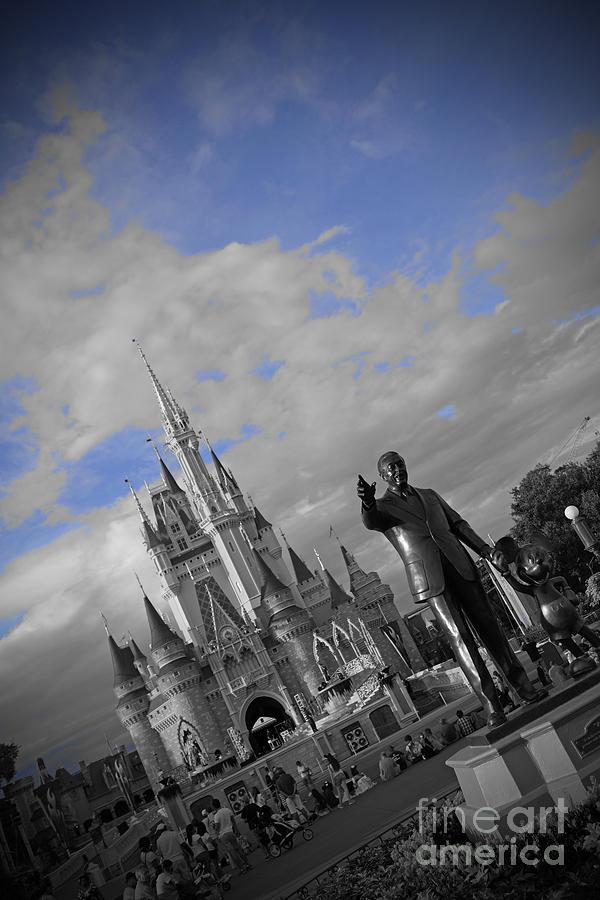 Walt Disney World Cinderella Castle Magic Kingdom Partners Statue Black And White Blue Sky Pyrography - Walt Disney World - Partners Statue by AK Photography