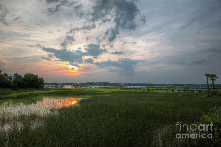 Wando River Marsh Sunset In Mount Pleasant Sc Photograph