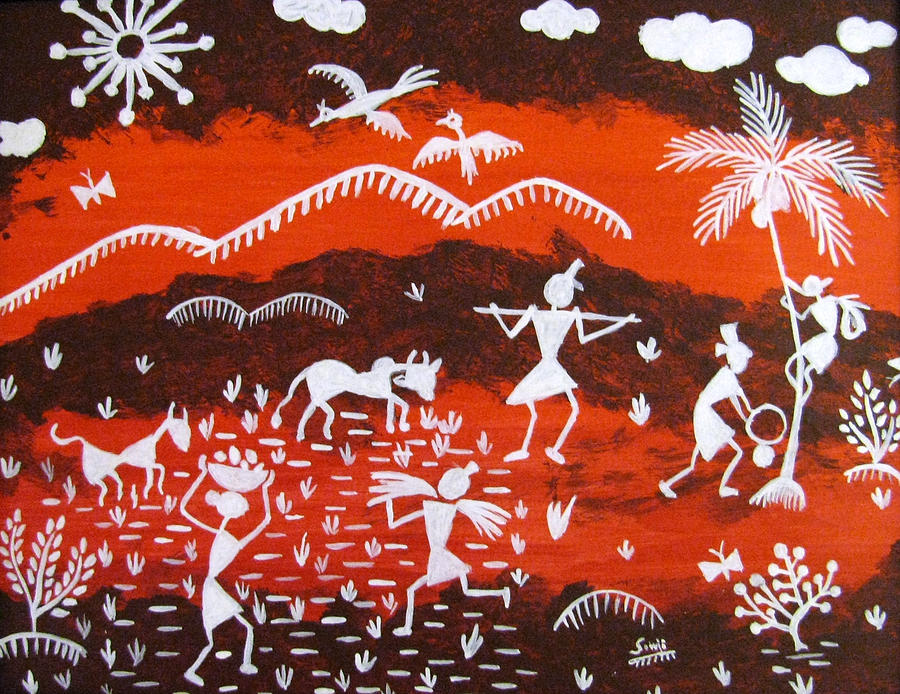 Warli Painting - Warli Village Scene by Sowjanya Sreeram