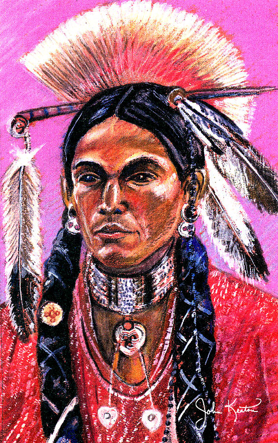 American Indian Painting - Warrior 1 by John Keaton