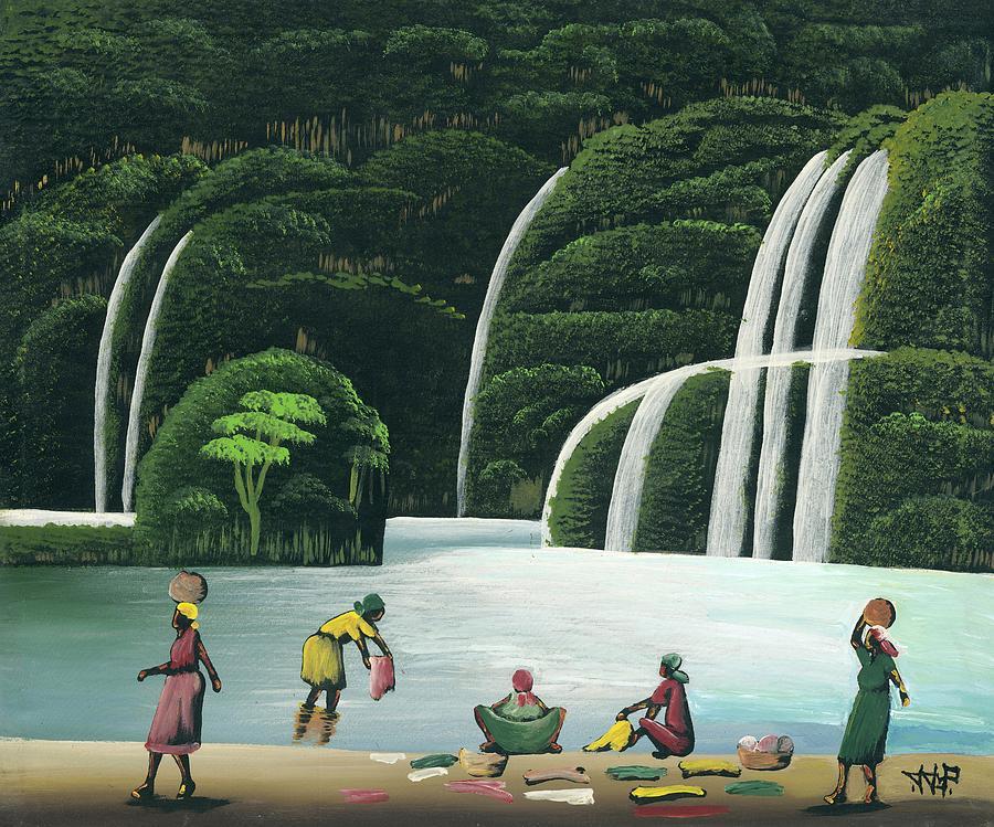 Washing At The Falls Painting