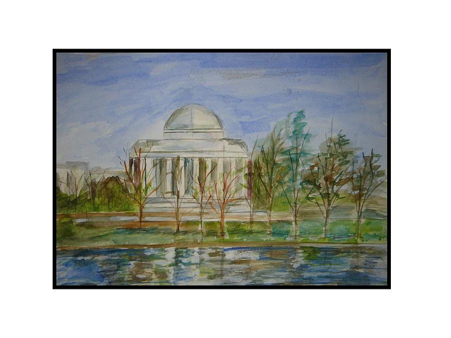 Dc Views In Watercolor Greeting Card - Washington View by Angela Puglisi