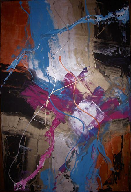 Abstract Painting - Watching Over by Joey Santiago