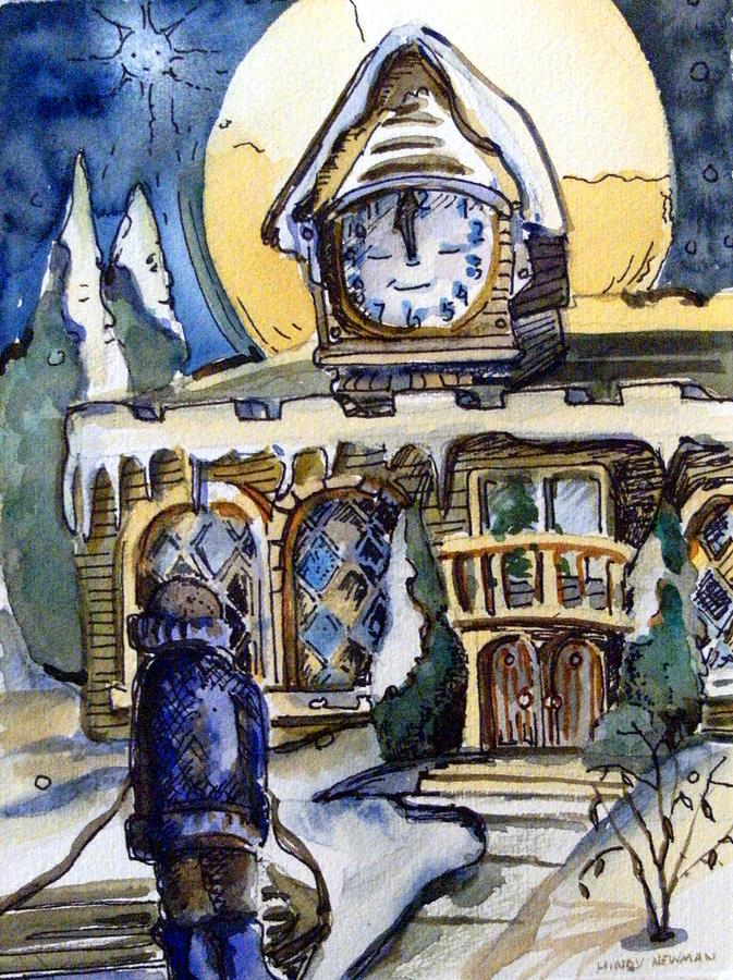 Clock Painting - Watching The Village Clock by Mindy Newman