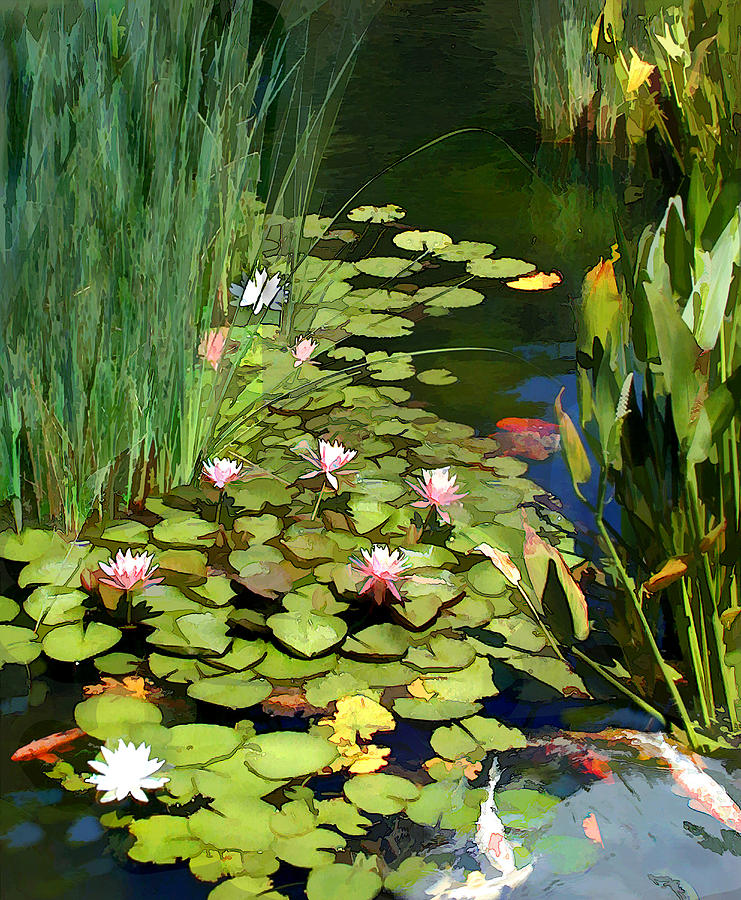 Water lilies and koi pond painting by elaine plesser for Koi pool water gardens thornton