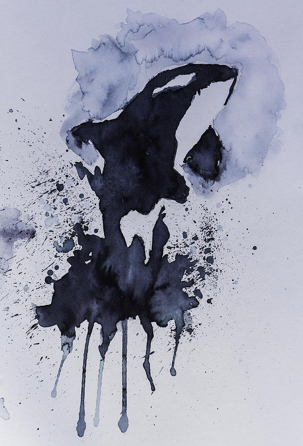 Watercolor Abstract Killer Whale Painting Painting By Andy