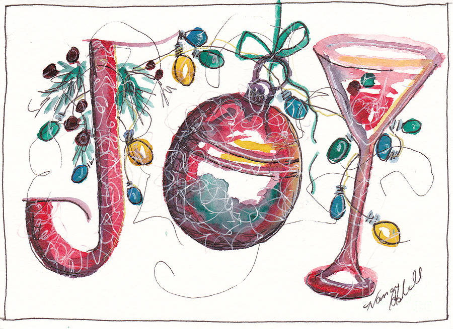 Joy Painting - Watercolor Christmas Notecard by Michele Hollister - for Nancy Asbell