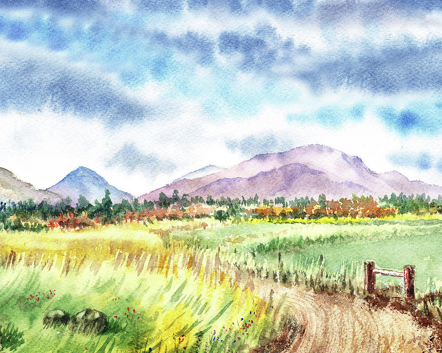 Watercolor Landscape Path To The Mountains Painting