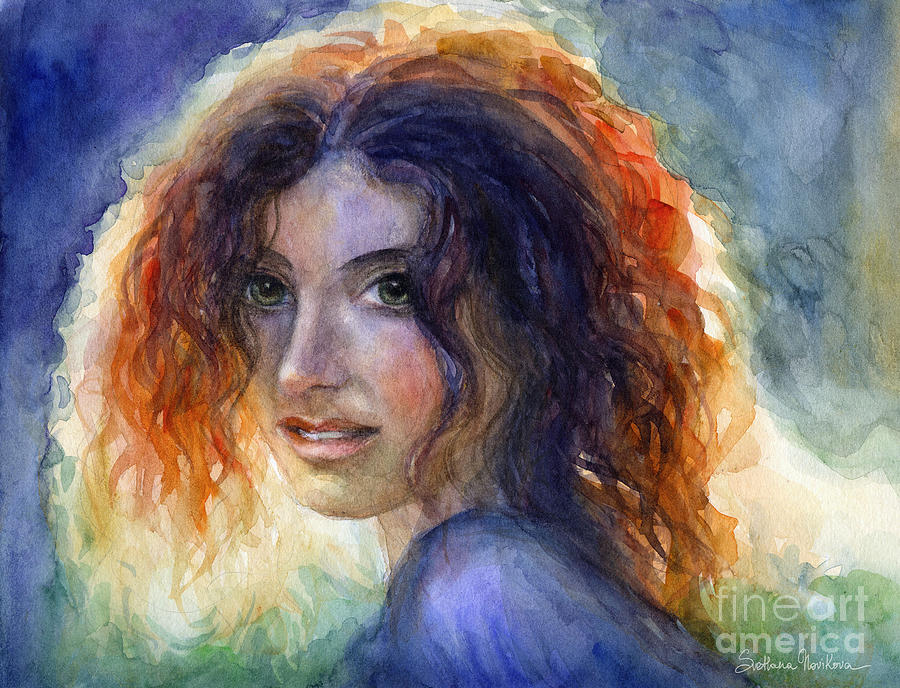 Watercolor Sunlit Woman Portrait 2 Painting