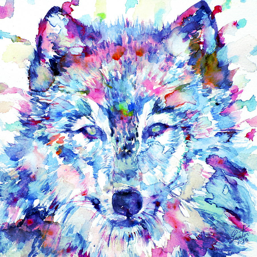 Watercolor Wolves 3 Painting By Fabrizio Cassetta