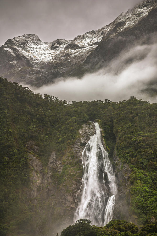Waterfall At Milford Sound Photograph
