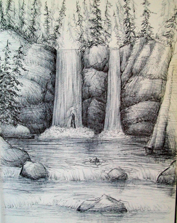 Forest Drawing - Waterfall by Georges St Pierre