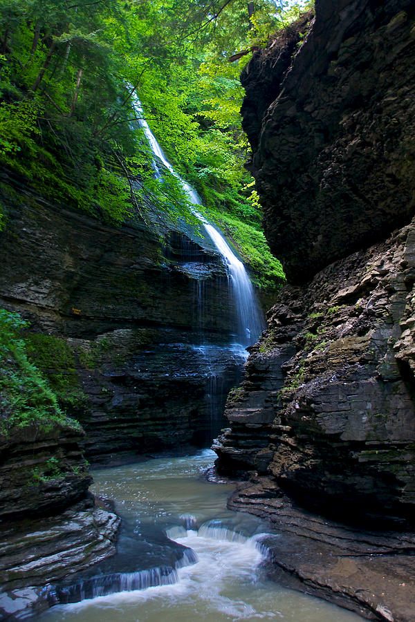 Trail Photograph - Waterfall In The Gorge by Mike Horvath