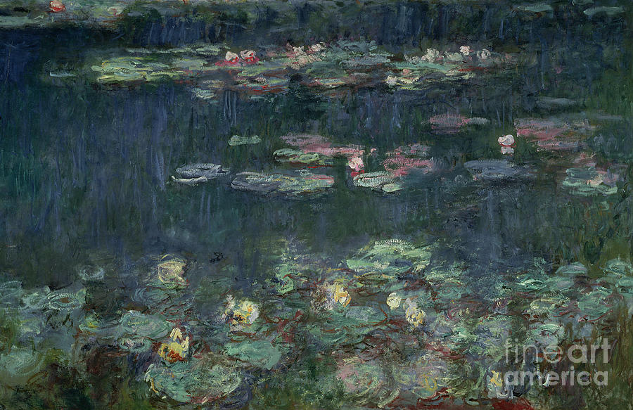 Monet Painting - Waterlilies Green Reflections by Claude Monet