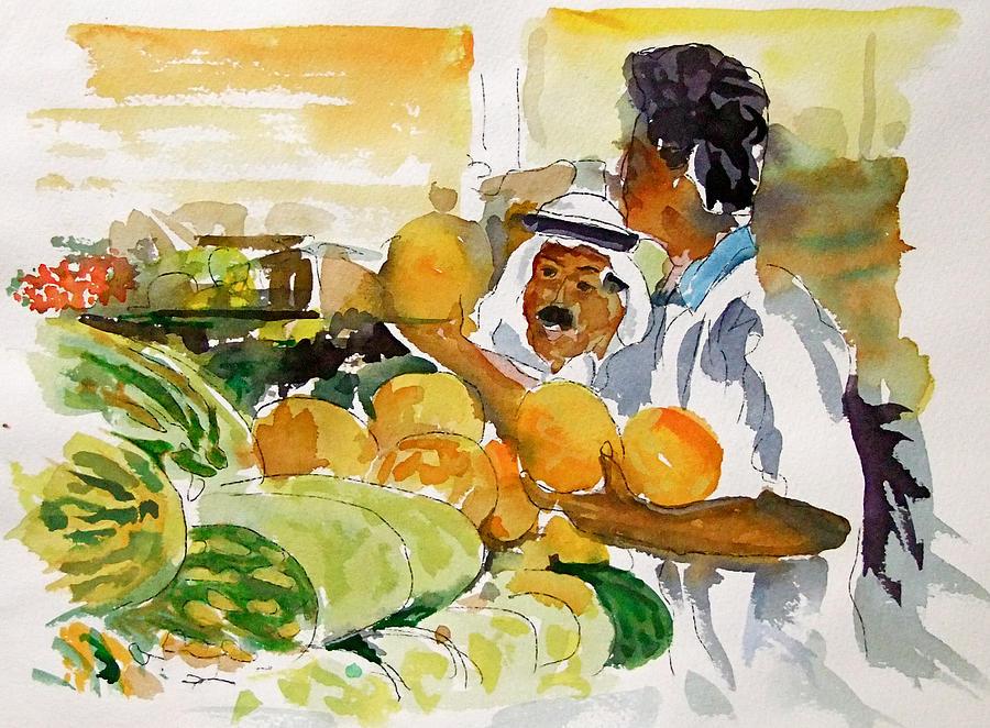 Watermelon Man Painting - Watermelon Man by Mike Shepley DA Edin