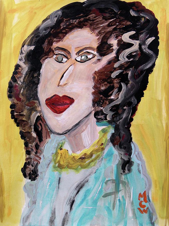 Girl Painting - Waves And Green Eyes by Mary Carol Williams