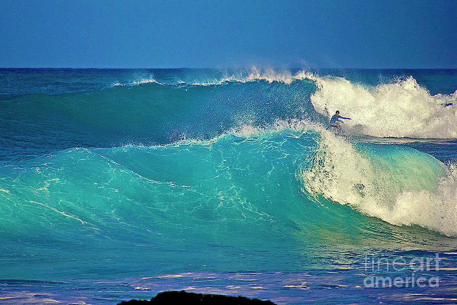 Surfer Photograph - Waves And Surfer In Morning Light by Bette Phelan