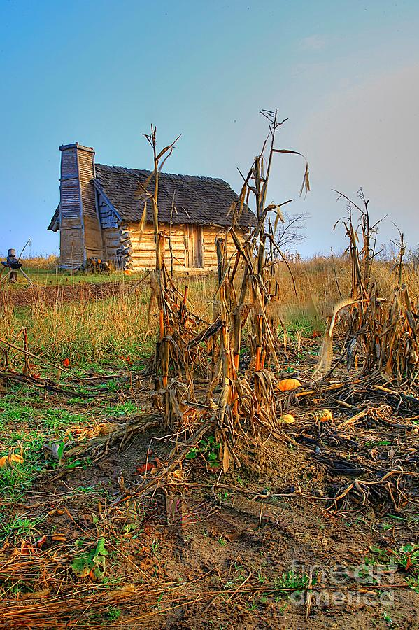 Log Cabin Old Country Harvest Related Tags:  Cabin Artwork Photograph - Way Back When by Robert Pearson