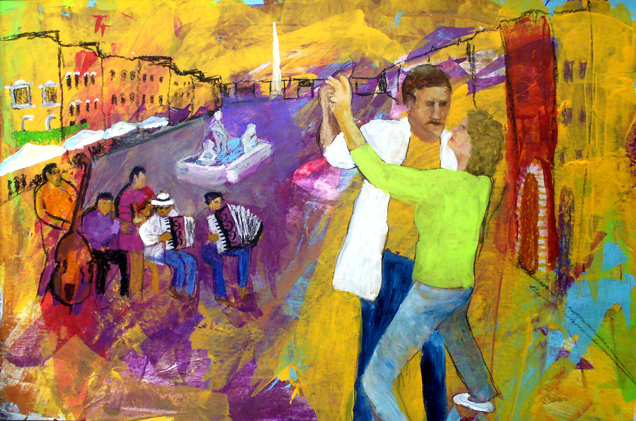 Tango Painting - We Tangoed On The Piazza Navono by Keith Thue