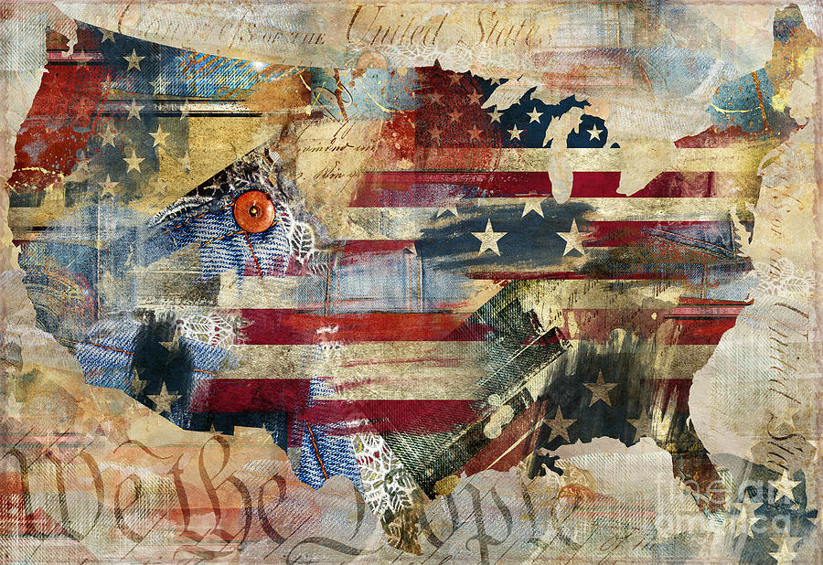 We the people map america painting by mindy sommers for America s finest paint
