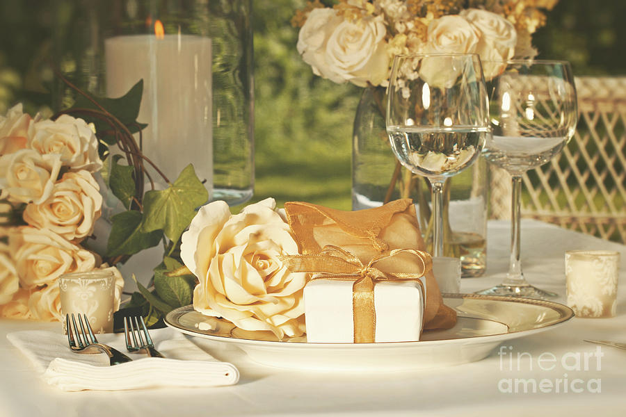 Arrangement Photograph - Wedding Party Favors On Plate At Reception by Sandra Cunningham