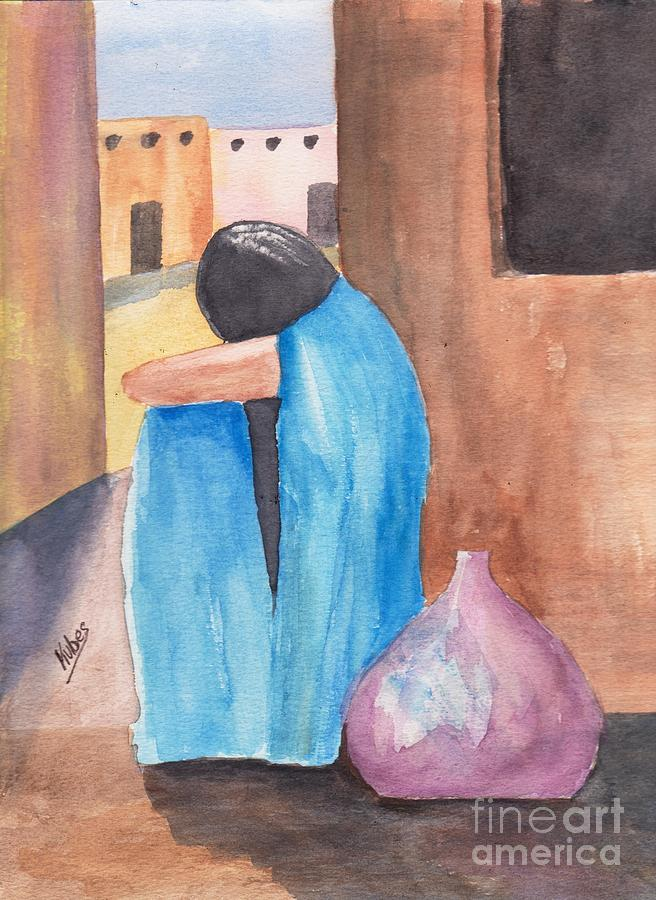 Southwest Painting - Weeping Woman  by Susan Kubes